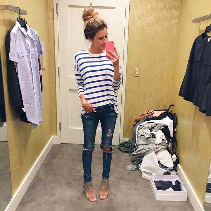 Camiseta listrada e jeans | Christine Andrews