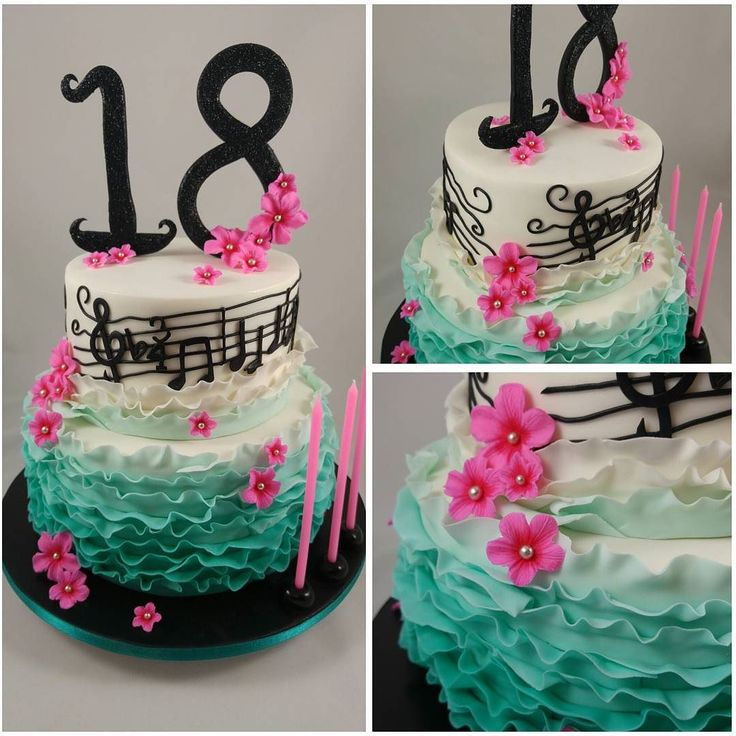 pretty floral, ruffle and musical cake.