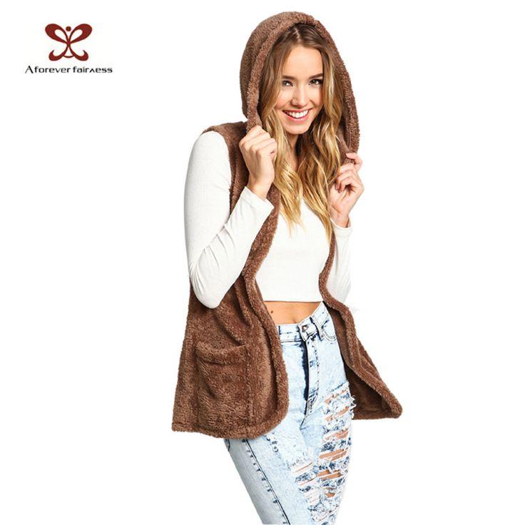 Women Vests Lambs Gross Hooded Sides Pocket Teddy Furry Vest Warm Casual Cardigan Vest Jacket Winter NC-571