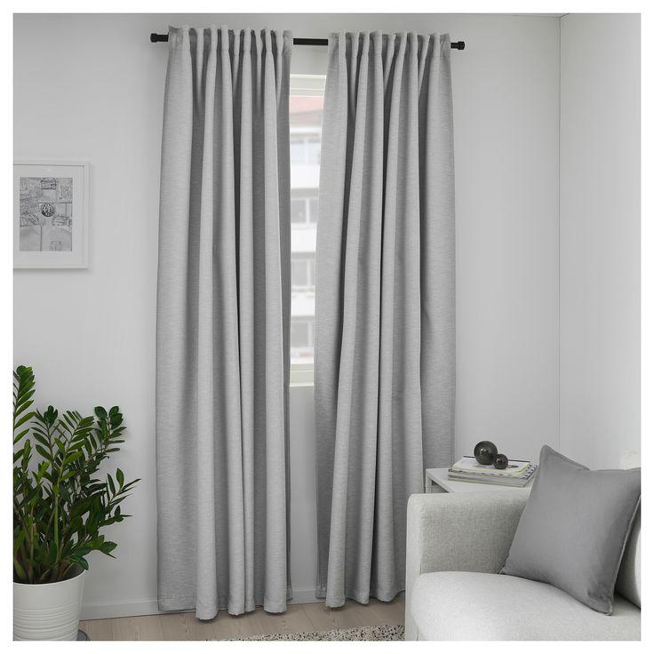 Ikea Vilborg Room Darkening Curtains 1 Pair Gray In