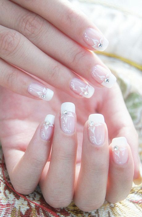 French manicure with white flower nail art and silver rhinestones ♡