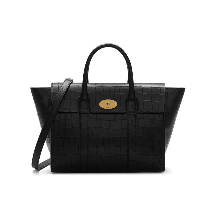 Mulberry Bayswater with Strap, Black Deep Embossed Croc Print