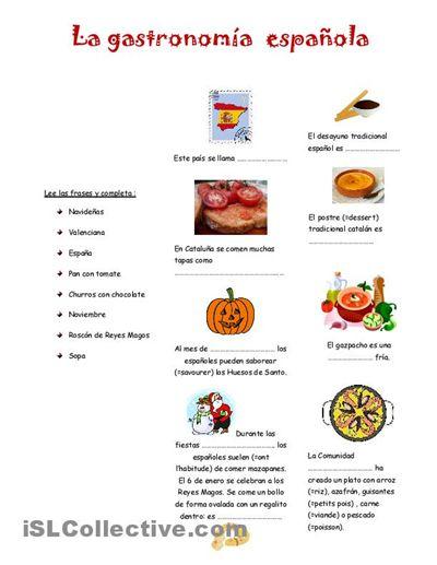 La gastronomia espanola trabajos - Hojas de trabajo de ELE gratuitas espagnol.hispania.over-blog.com
