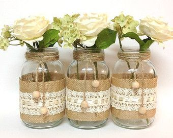 burlap lace mason jars idea - Google Search