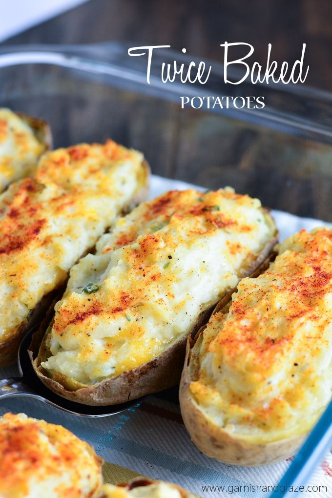 Twice-baked-potatoes. I used six potatoes instead of four, but did not increase the sour cream or cheese. Used half the amount of butter.
