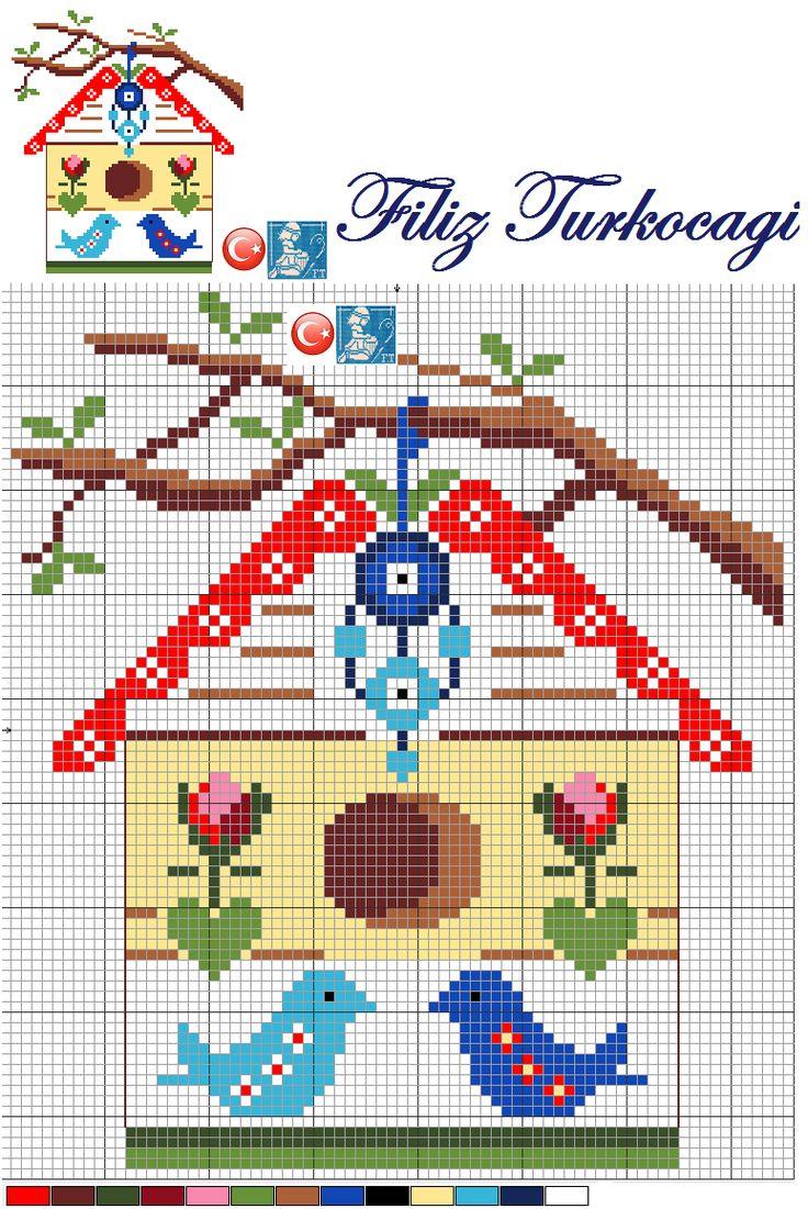 Herkese güzel bir hafta sonu diliyorum :)) Designed by Filiz Türkocağı...( Bird House, Turkish evil eye )