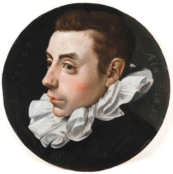 Jan Antonisz. van Ravesteyn  (1572-1657), Portrait de Hugo Grotius, à l'âge de 16 ans.  Panneau, diamètre 31 cm | Fondation Custodia