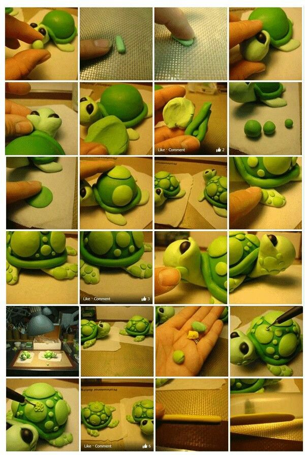 FONDANT TURTLE PICTURE TUTORIAL | Use for Polymer Clay