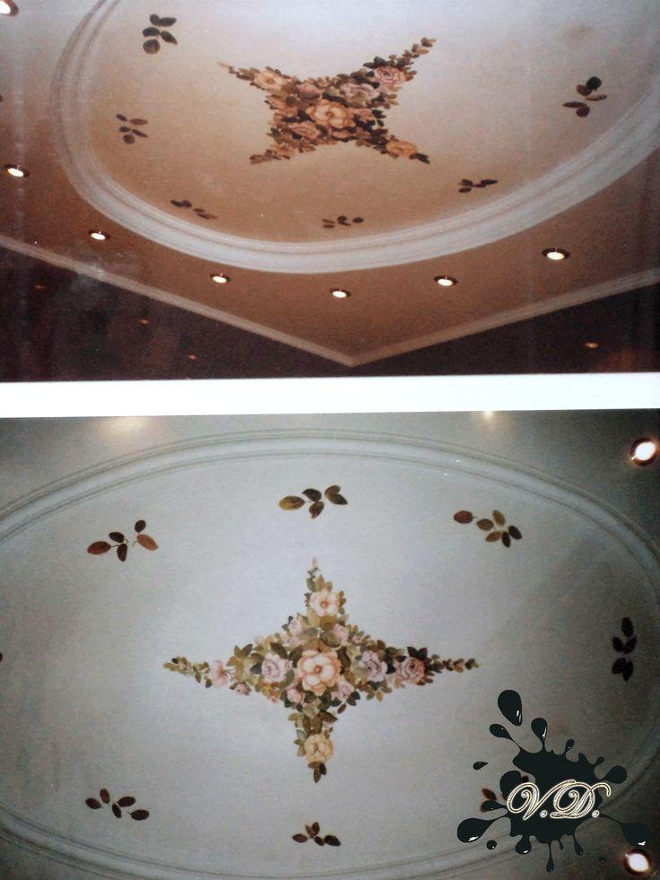 """Цветочная живопись размером 3 м на 2м 50 см Написано мною на обычной штукатурке, предназначенной для влажных помещений, акриловые голландские краски, сверху несколько слоев воска для """"Венецианки"""". Фреска не боится влаги. Сюжет - незатейливый орнамент из цветов. Эта фреска изображена мной на потолке в ванной комнате над джакузи, в Оболонском р-н г. Киева. Консультация по тел.: 095-659-91-07 или 067-193-25-53. #художник#росписьстен#фреска"""