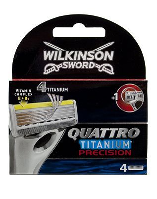 Wilkinson Sword QuattroTitanium Precision blades 32 Advantage card points. Wilkinson Sword Quattro Titanium Precision blades have 4 titanium blades and 1 precision trimmer with Vitamin complex E   B5. FREE Delivery on orders over 45 GBP. http://www.MightGet.com/february-2017-1/wilkinson-sword-quattrotitanium-precision-blades.asp