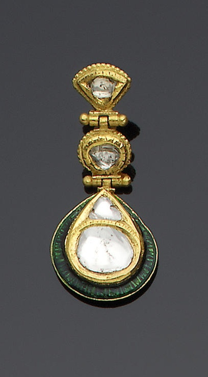 A pair of Indian diamond-set gold and enamelled Earrings each composed of three hinged diamond-set sections, the bottom in the form of a teardrop with a droplet and crescent above, verso enamelled in polychrome with floral designs each 4 cm. long(