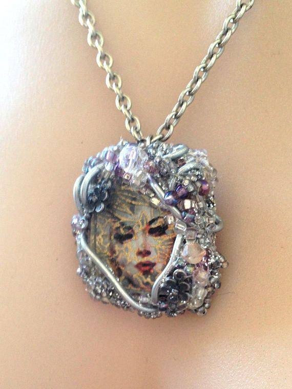 Vintage Necklace Silver Rockabilly Pinup Face Pendant