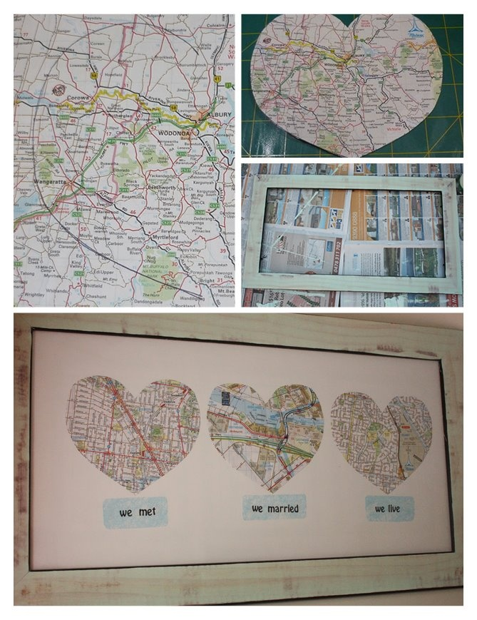different maps of different places either I've been to or really want to go. Chicago, New York and maybe Canada or something. Paris, South Africa, and Australia :)