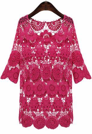 Red Rose Half Sleeve Hollow Out Crochet Short Dress