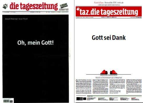 'Gracias a Dios' es el titular de hoy del periódico alemán Die Tageszeitung http://felixjtapia.org/blog/2013/02/12/gracias-a-dios-es-el-titular-de-hoy-del-periodico-aleman-die-tageszeitung/