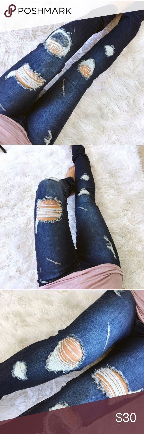 Destroyed dark skinny jeans See last photo for details. From my boutique @stephanyy Jeans Skinny
