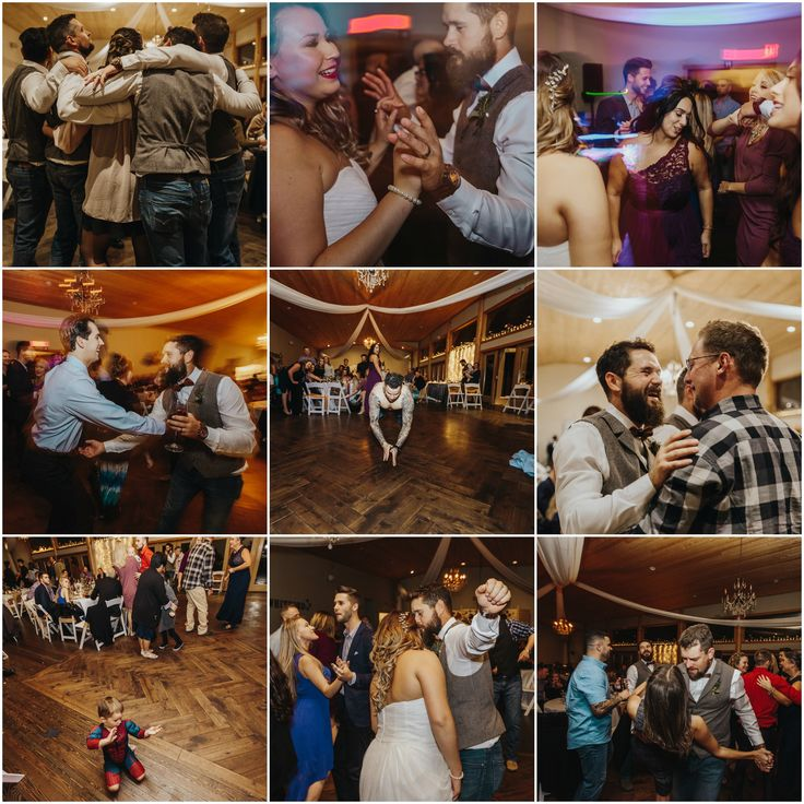 Fun dance floor, laughter, friends,   Fraser River Lodge, Rustic Pine Wedding, Red, Purple, Plaid 11.jpg