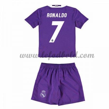 Billige Fodboldsæt Real Madrid Børn 2016-17 Ronaldo 7 Kortærmet Udebanesæt