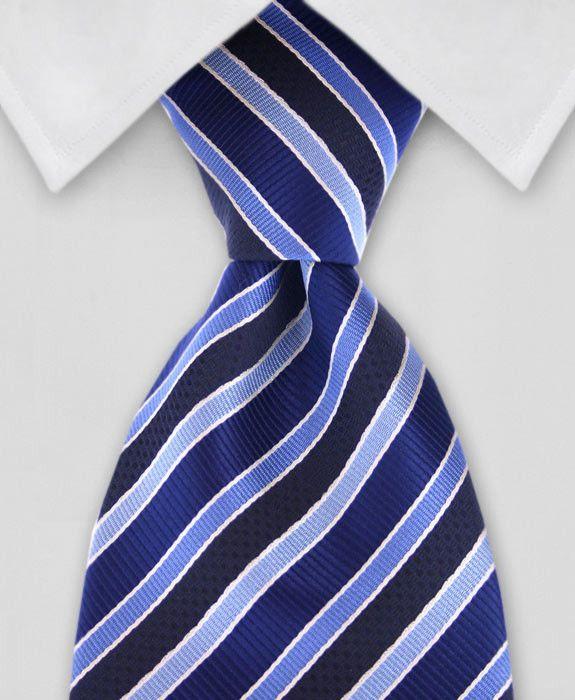 Striped Tie - Black & Blue