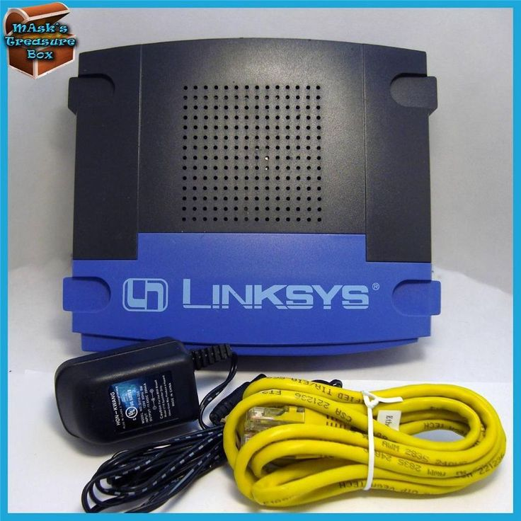 Linksys Router with power cord and network cable. This router has been tested and works fine. this router features: • Built-in 4-port switch connects four local PCs directly  • Daisy-chain out to more hubs & switches as your network grows  • Supports DHCP, Universal Plug-and-Play (UPnP) #Linksys #Network