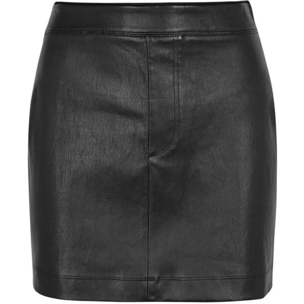 Helmut Lang Black Leather Mini Skirt - Size 12 (2,740 PEN) ❤ liked on Polyvore featuring skirts, mini skirts, leather mini skirts, leather miniskirt, short skirts, short mini skirts and genuine leather skirt