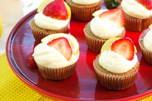 Strawberry Lemonade Cupcakes #SundaySupper | The Girl in the Little Red Kitchen