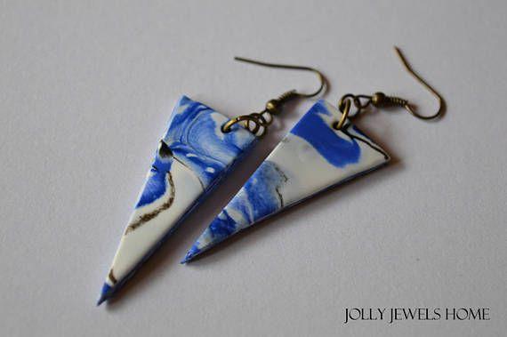 Blue dangle earrings Geometric triangle earrings Blue summer