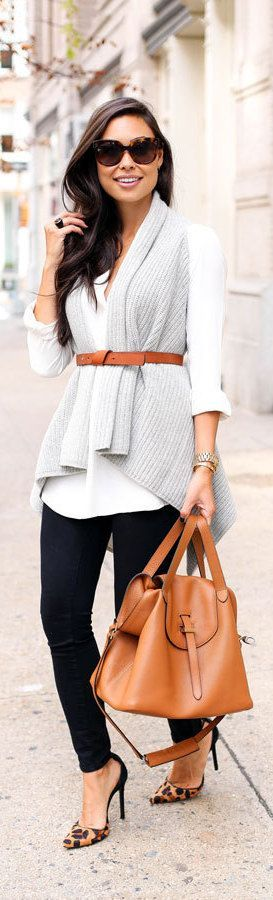 Fall fashion | Belted pale grey vest over white blouse with animal prints heels (via Bloglovin.com )