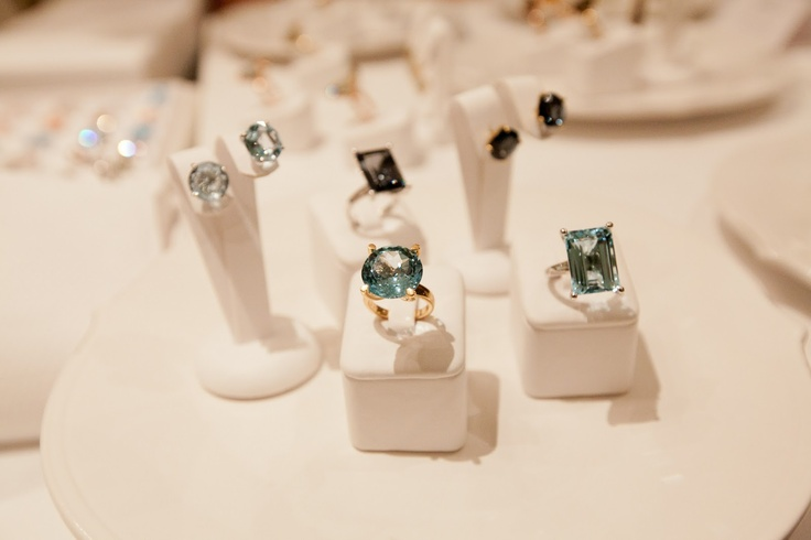 Plates of fine jewellery and cocktail rings at Lily-G, Brisbane.