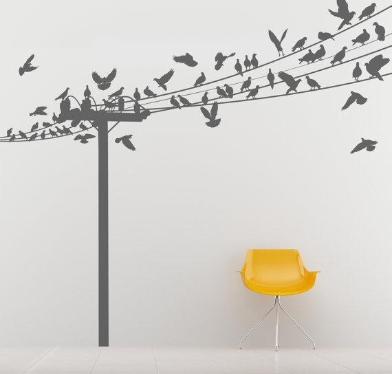 Best Wall DecalsMurals And Wallpaper Images On Pinterest - Wall decals birdsbirds couple on branch wall decal beautiful bird vinyl sticker