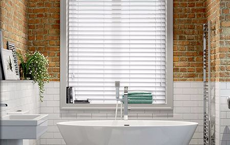 Synthetic wood venetians are ideal for humid areas like bathrooms