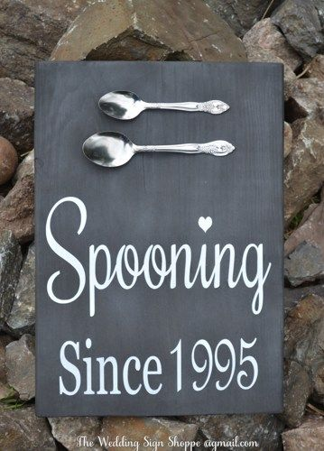 Chalkboard Wedding Sign Rustic Spooning Since Wedding Wall Art Personalized Wedding Gift Kitchen Decor Wood Signage Christmas Anniversary Couples Shower Gift Vintage Hand Painted Table Décor Home Kitchen Decor