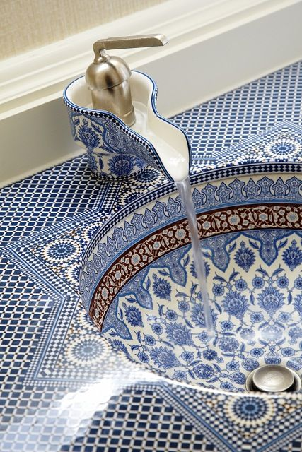 Persian tile sink and vanity in a  bathroom of the penthouse of the Fairmont in San Francisco. Champalimaud Design