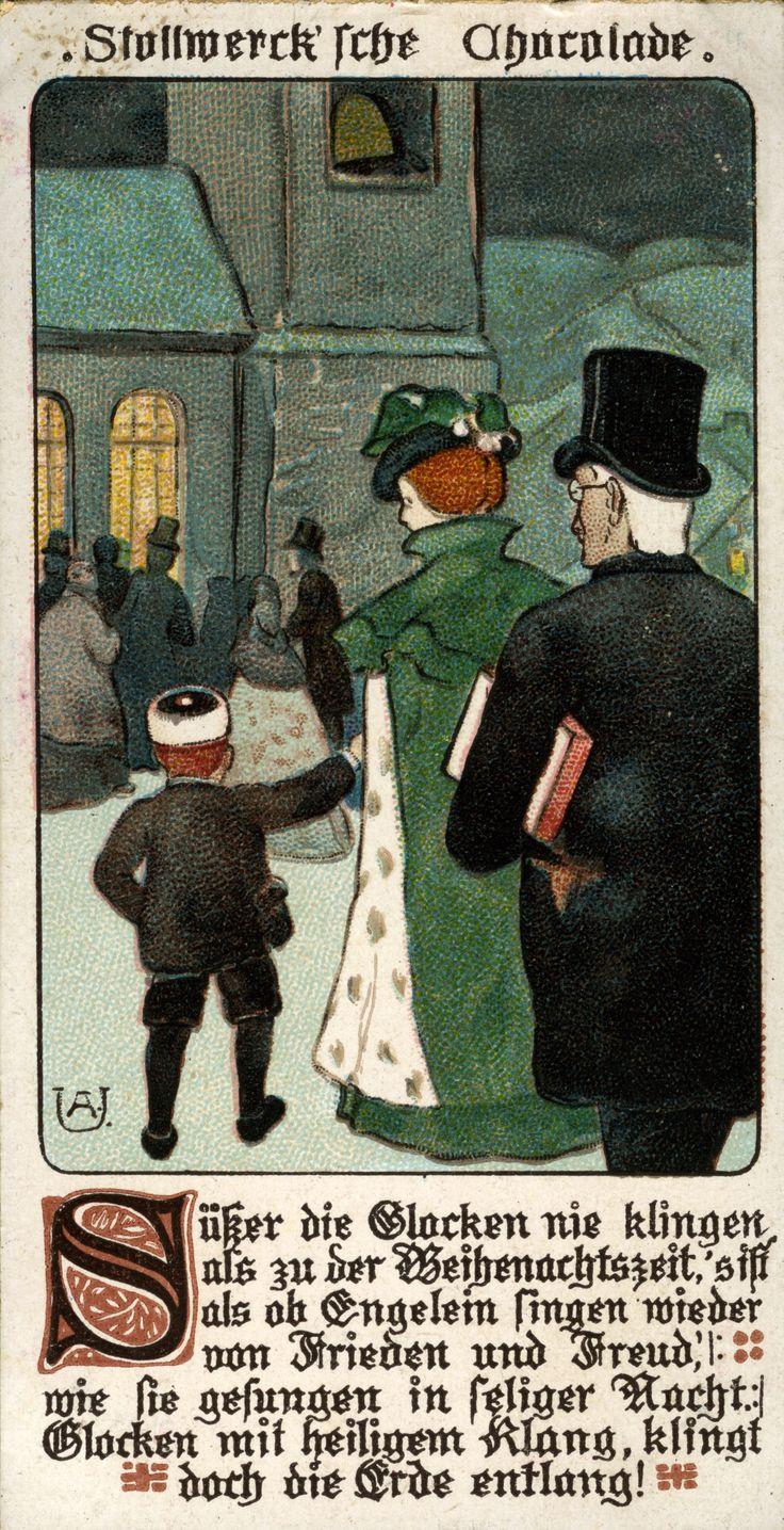 Campane di Natale - [IMMAGINI DI NATALE], 1899 Pubblicità cioccolato Stollwerck, Colonia