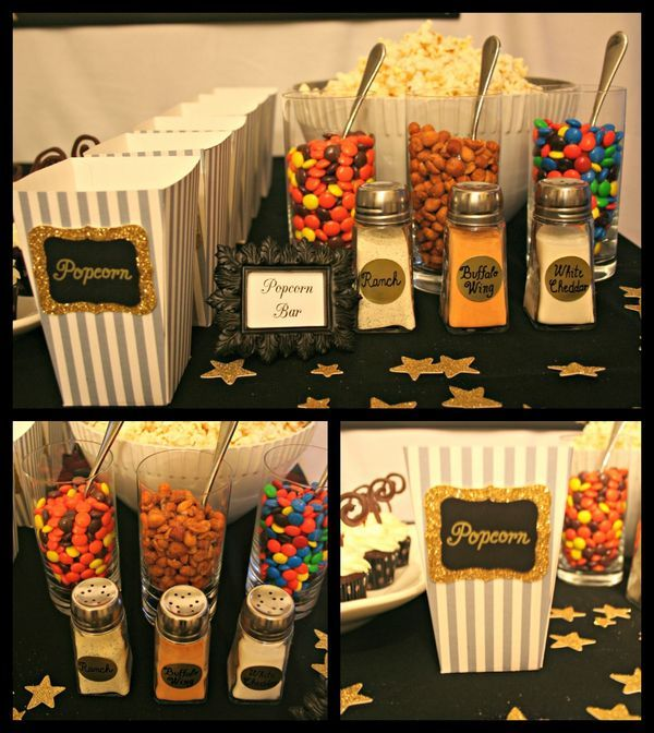 Popcorn bar- this would be cool for a kids movie sleep over