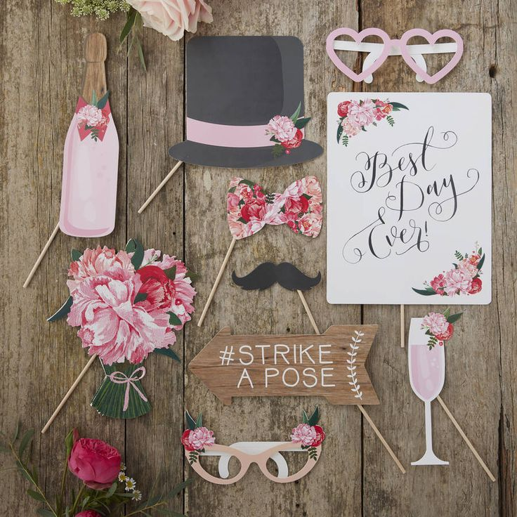 A fun photo booth kit for weddings.   Make your big day memorable by capturing pictures of you and your loved ones using this fun Photo Booth Prop pack! Create your own Photo Booth fun by posing with these lovely novelty props. Each Photo booth pack contains: 1x Best Day Ever Sign, 1x Bouquet of Flowers, 1x Bow Tie, 1x Champagne Glass, 1x Top Hat, 1x Moustache, 1x #Strike a Pose Sign and 2x Glasses. Each prop is around 25cm in height and has a thin wooden handle to hold on to.   Wooden…