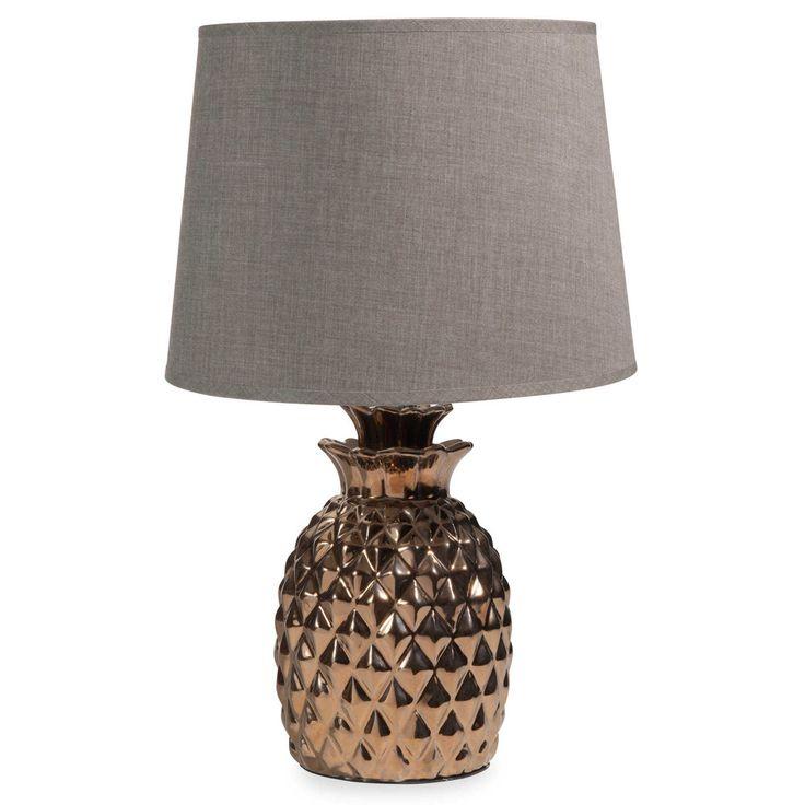 Lampada ananas dorata in ceramica H 35 cm