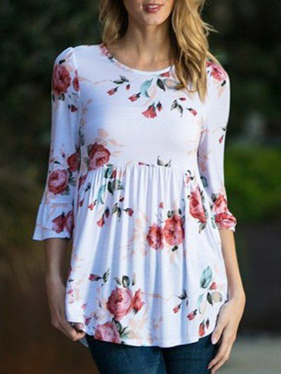 Flare Sleeve Floral Smock Top: Flare Sleeve Floral Smock Top