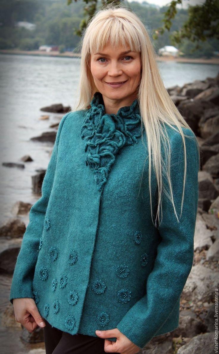 Купить Жакет валяный Морская волна (бронь) - тёмно-бирюзовый, однотонный, жакет, жакет валяный