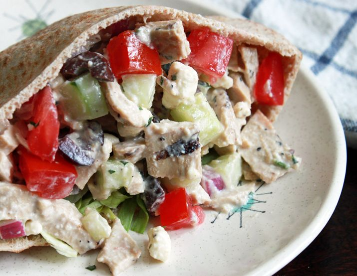 Instead of a chicken salad that's loaded with mayo, this one's based on Greek yogurt and is loaded with fresh veggies.