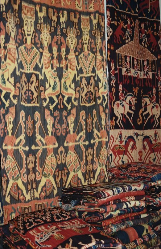 Ready to sell: a gallery in Waingapu, Sumba, selling handmade ikat. The word ikat means to bind. It is also known as the tie and dye process used by weavers in Indonesia, and Sumba is famous for producing some of the most beautiful examples using traditional methods. (Photo by Electra Gillies)