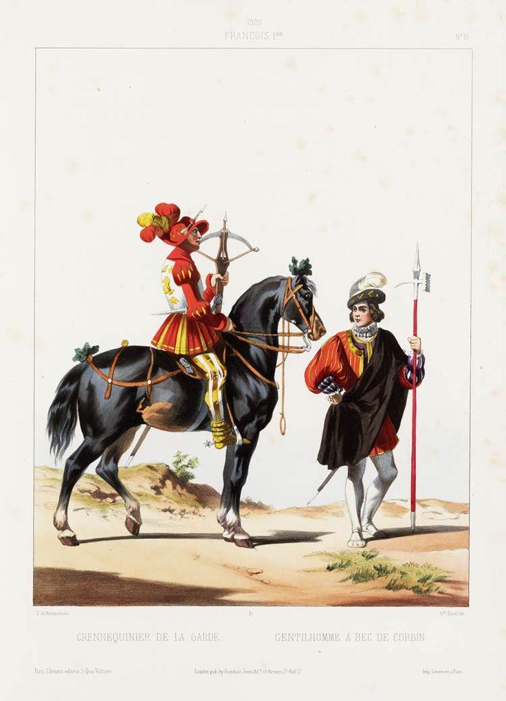 1520. François Ier. Crennequinier de la garde, Gentilhomme à bec de corbin (pré-Chevau-légers de la Garde).