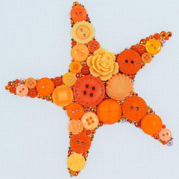 Button Art Orange Starfish Button Starfish by PaintedWithButtons