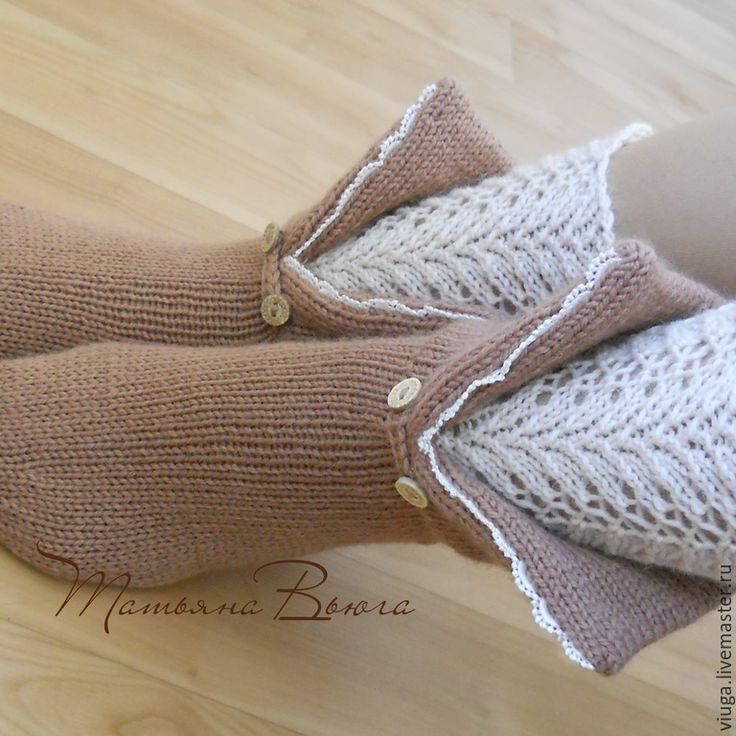 Купить Дом у сиреневой реки. Носки вязаные, шерстяные носки, домашняя обувь. - коричневый