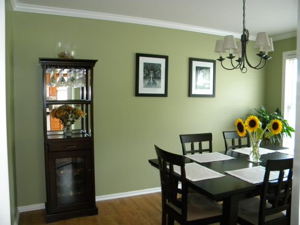 For our dinning room, I want to paint this color green with brown, turquoise, brick red, and dark orange accents for a cafe feel