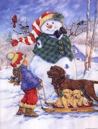 Donna Race... you can almost see her telling the snowman who her doggy friends are - or explaining Mr. Snowman to the doggies! Cute!