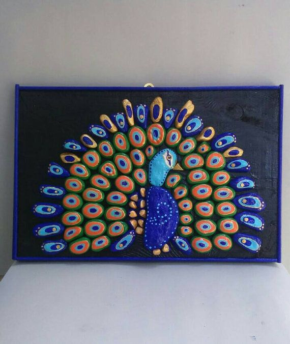 Peacock,Handpainted, Pebble Art, Stone Art, pallet wood, Handmade, Painting rocks, Birds, Home Decor, Gifts, Wall decor,