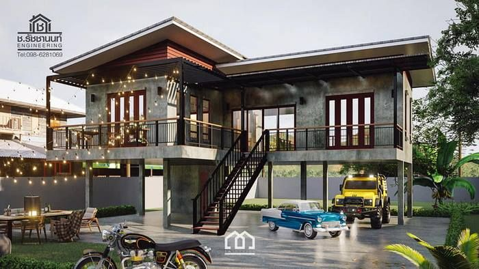 Modern House Two Story With 4 Bedrooms Cool House Concepts House On Stilts Small House Plans House Exterior