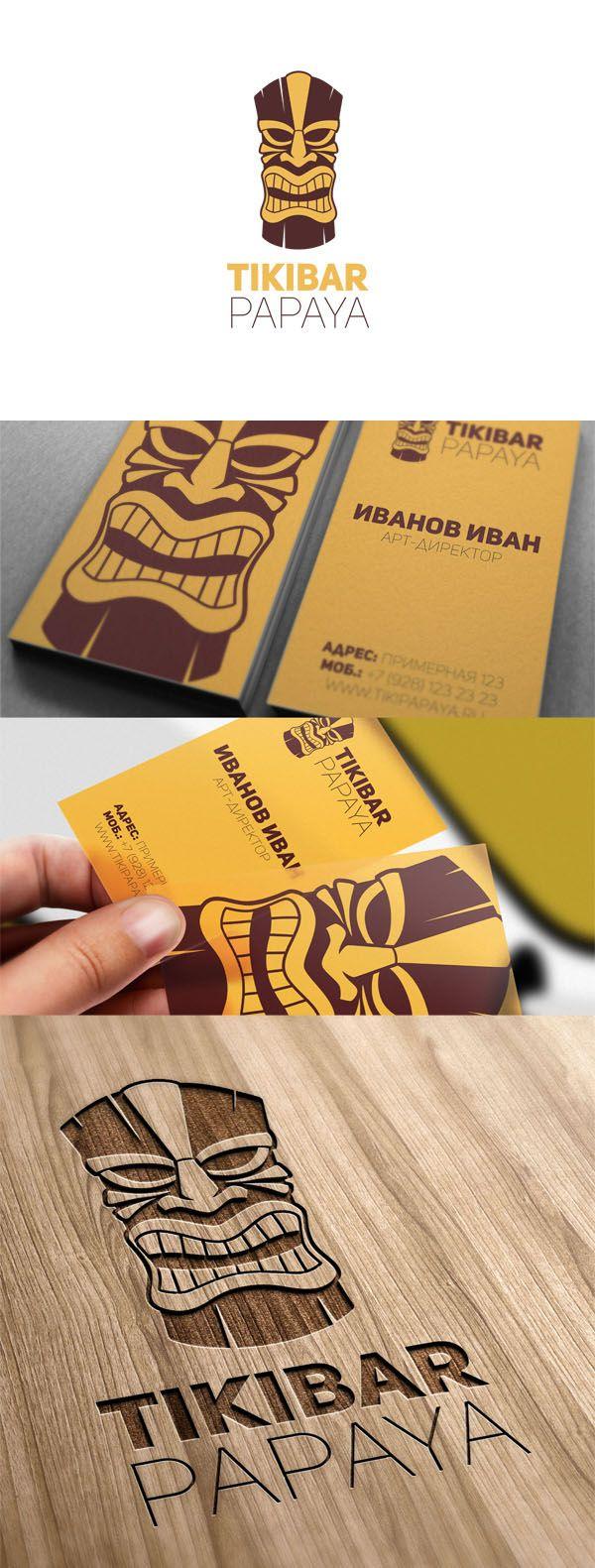 Логотип для бара ТИКИ (Дизайн - Гнездилов Павел г.Краснодар) #logo #logotype #brand #branding #mask #face #hawaii #yellow