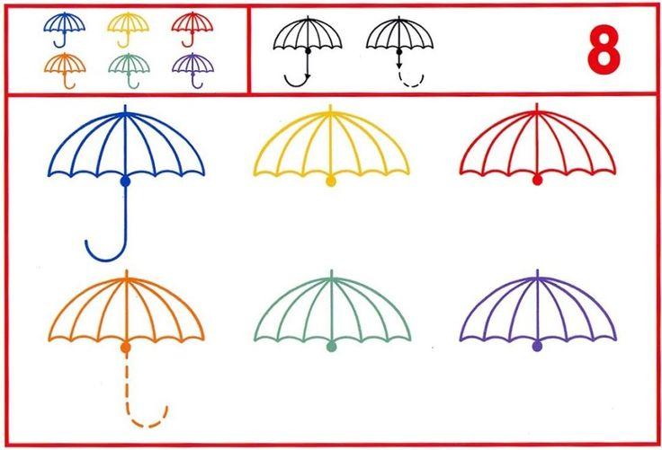 paraplu schrijfpatroon, free printable